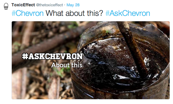 An example tweet from the #AskChevron Twitter campaign