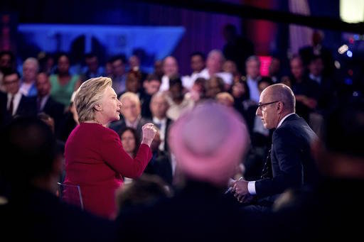 Hillary Clinton at Wednesday night's Commander-in-Chief Forum. (Image via NBC News' Twitter account).