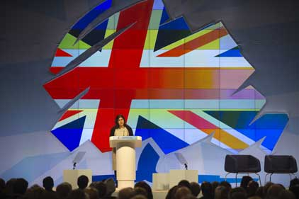 Baroness Warsi: addresses the Conservative conference [Rex Features]