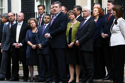 Team effort: Gordon Brown with party ministers