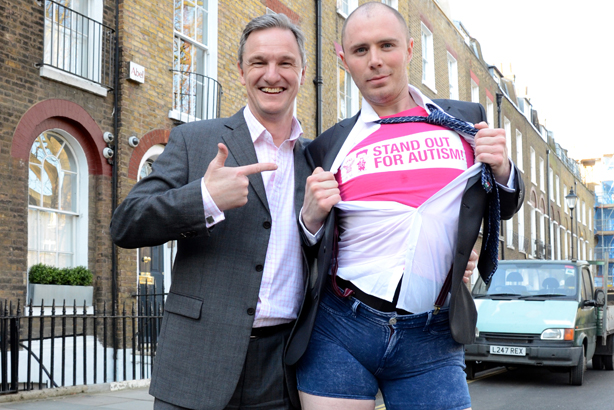 Stand out: Epic Dave (right) with National Autistic Society chief executive Mark Lever (left) (credit: Simon Leigh)