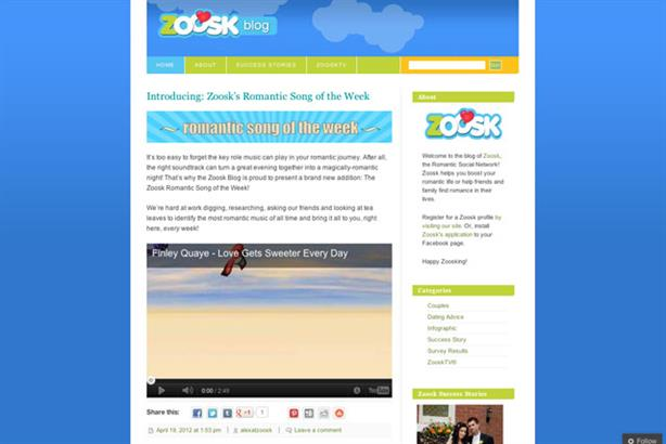 Top spot: Zoosk aims to be the top romantic destination online and on mobile