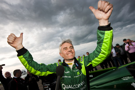 Electric shock: Lord Drayson celebrates smashing the 40-year-old land speed record