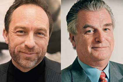 Heated debate: Jimmy Wales and Lord Bell