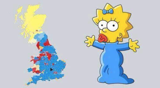 The 2015 General Election result has been compared to Maggie Simpson