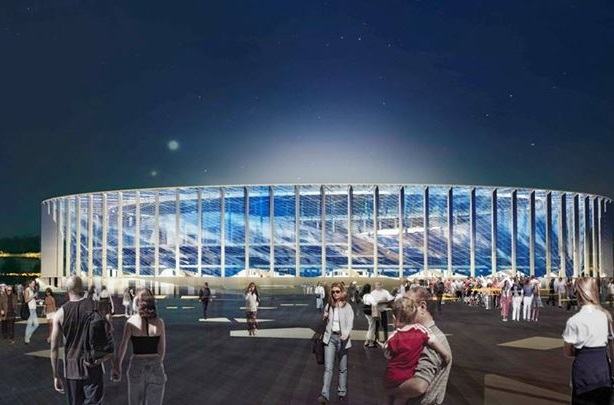 An image of the stadium planned for Nizhny Novgorod, one of 11 host cities for the 2018 FIFA World Cup Russia