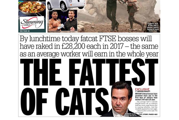 The Daily Mirror's print edition lead with Fat Cat Wednesday this morning