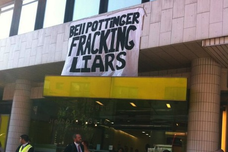 Protest: Bell Pottinger's Holborn office this morning