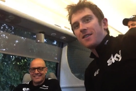 Geraint Thomas: The Team Sky rider's video blog features him talking to team principal Dave Brailsford (l)