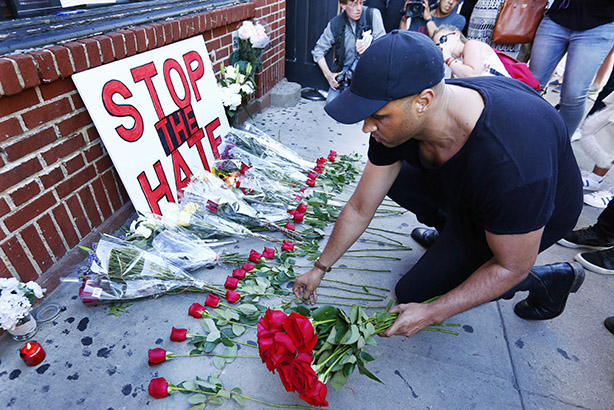 A tribute in New York to victims of the Orlando shooting (Credit: Monika Graff/Getty Images)