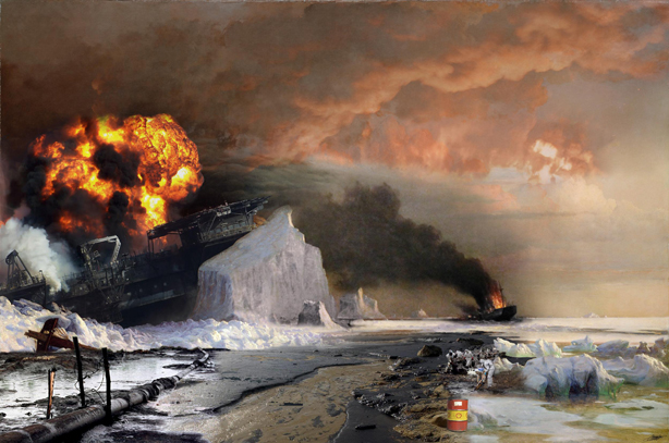 A re-working of 'An Arctic Summer: Boring Through the Pack in Melville Bay' by William Bradford.