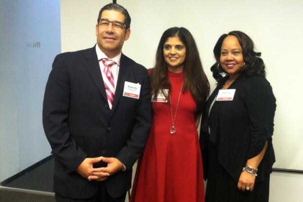 (Left to right) Roberto Gomez, Pallavi Kumar, and Sharon Jones
