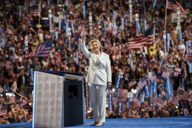 History is made as Hillary Clinton accepts the DNC presidential nomination (Pic downloaded from Hillary Clinton's Twitter account)