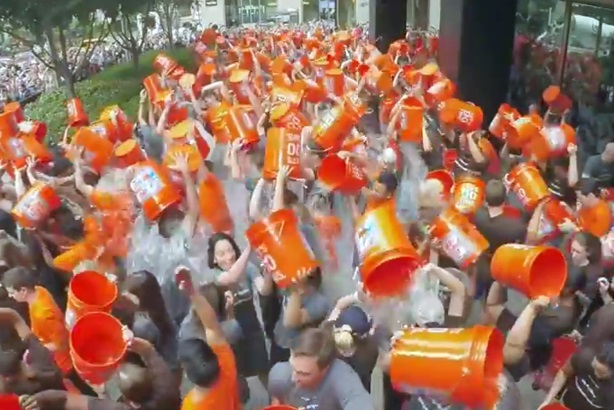 JP Morgan employees take the Ice Bucket Challenge.