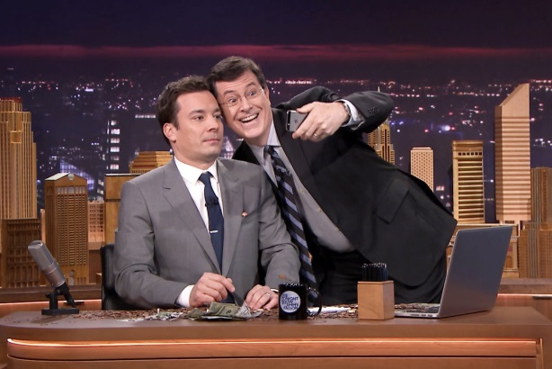 <i>Tonight Show</i> host Jimmy Fallon with David Letterman's replacement, Stephen Colbert