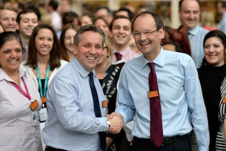 Justin King (l) and his designated successor, Sainsbury's group commercial director Mike Coupe