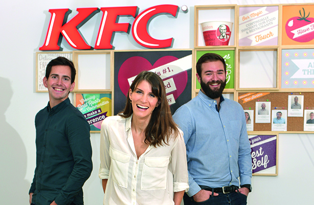 KFC's in-house PR leaders photographed for PRWeek last year (Mark Cheevers, Jenny Packwood and Josh Benge)