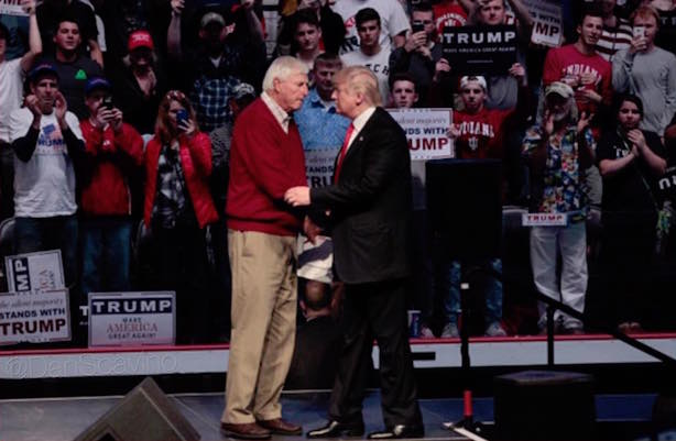 Bobby Knight introduces Donald Trump in Indiana. (Image via Trump's Facebook page).