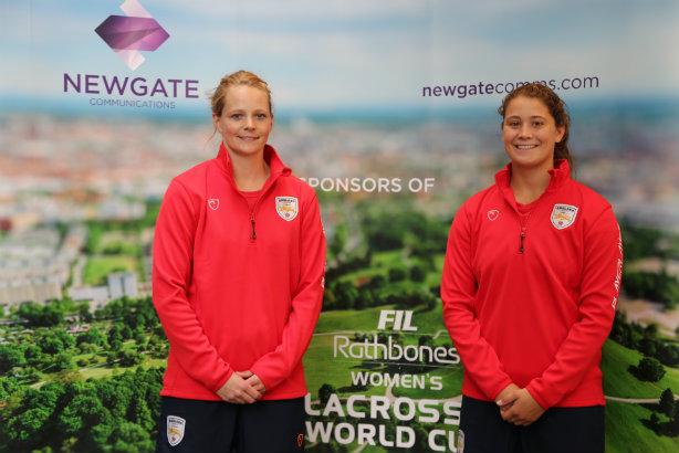 England players Camilla Hayes (l) and Olivia Hompe