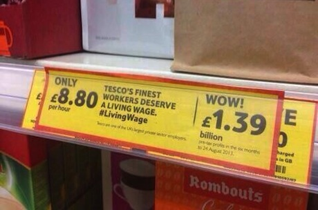 Living Wage campaign: In the style of Tesco price tags