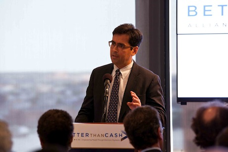 Switch: Ford Foundation president Luis Ubinas speaking at a Better Than Cash Alliance event