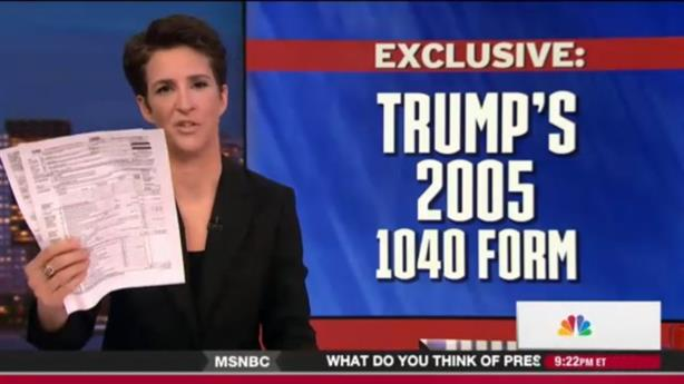 MSNBC's Rachel Maddow last night released two pages of Donald Trump's 2005 tax return.