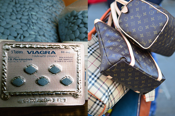 (pic credits: Viagra: Patrick AVENTURIER/Gamma-Rapho via Getty Images. Bags: GABRIEL BOUYS/AFP/Getty Images)