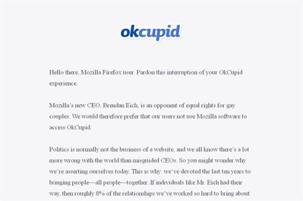 OKCupid: message suggests users go to other browsers