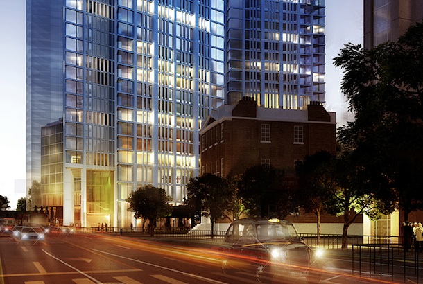 One Nine Elms: Artist's impression of the development on the Vauxhall Cross roundabout