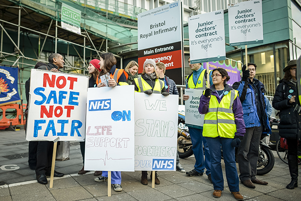 Two strikes: Medics picket in Bristol this morning (Credit: Ben Birchall/PA Wire/Press Association Images)