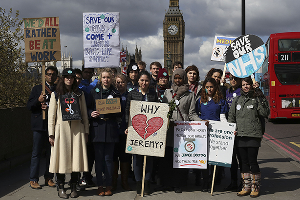 Unpopular contracts: Doctors at a protest yesterday (Credit: Philip Toscano/PA Wire/Press Association Images)