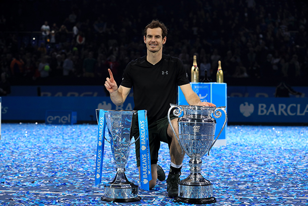 Number one: Andy Murray celebrates winning the ATP World Tour Finals at The O2 on Sunday (©Adam Davy/PA Wire)