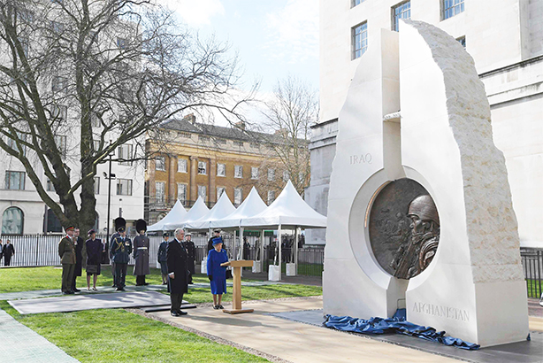 The Queen  and Prince Philip attend the unveiling of the new memorial on 9 March 2017 (Pic credit: TOBY MELVILLE/WPA Rota/Press Association Images)