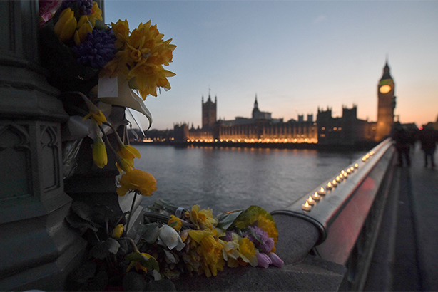 Flowers and candle lights on Westminster Bridge following the attack (pic credit: Victoria Jones/PA Wire/PA Images)