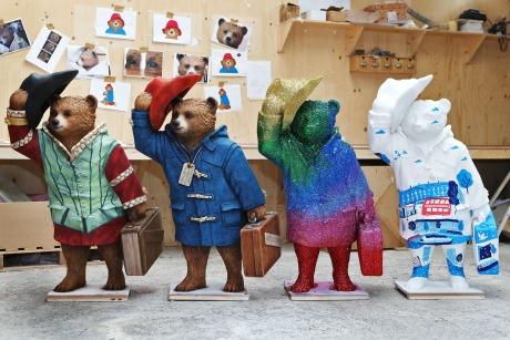 The Paddington trail: from left to right - bears designed by Michael Sheen, Michael Bond, Frankie Bridge and Hannah Warren (Image credit: Joe Pepler)