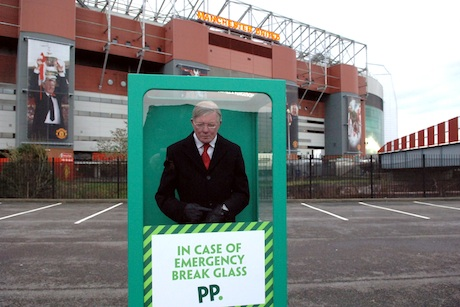Stunt: The Sir Alex Ferguson waxwork outside Old Trafford