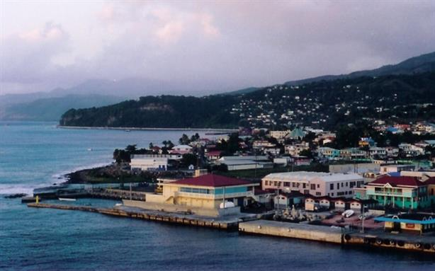 Dominica's capital city, Roseau (photo by Zeamays at English Wikipedia, via Wikimedia Commons)
