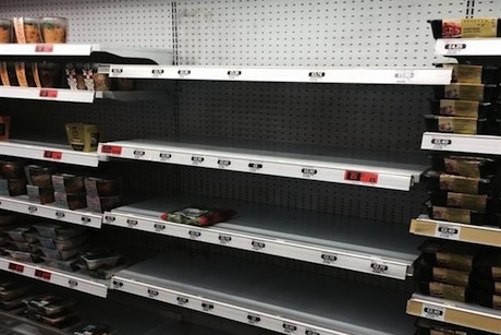Empty kosher food shelves in Sainsbury's on Saturday (Picture: Colin Appleby)