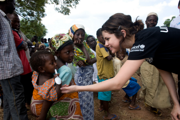 An example of a celebrity partnership: UNICEF teamed up with Selena Gomez