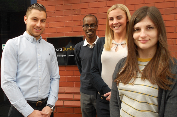 The Smarts Illuminate team (left to right): Ashley Dhindsa, Tim Priestman, Becki Lord and Sophie Zumbe