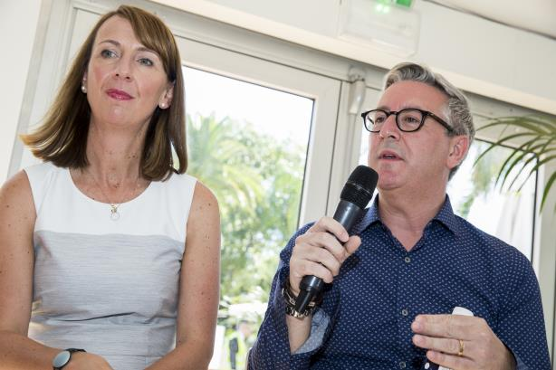 Ogilvy PR's Stuart Smith and KFC global chief marketing and innovation officer Jennelle Tilling at a PRWeek panel in Cannes
