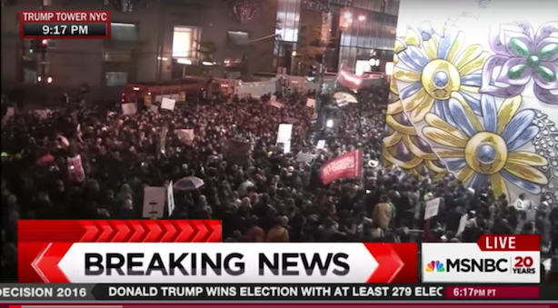 Protests of Donald Trump's election began last night in major cities. (Screenshot via MSNBC's YouTube channel).
