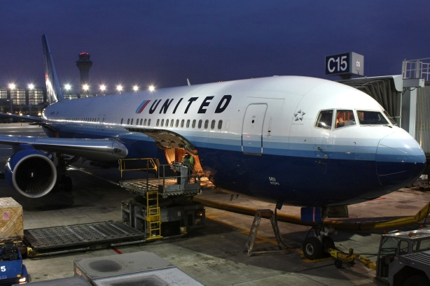 A United plane at a Chicago airport. This file is licensed under the Creative Commons Attribution-Share Alike 3.0 Unported license.
