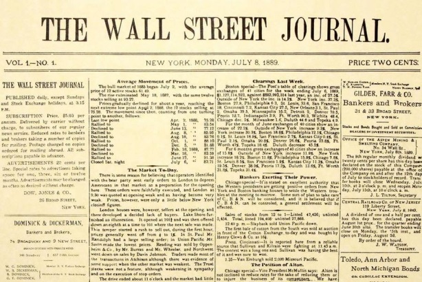The Wall Street Journal reprinted its first cover to commemorate its anniversary.