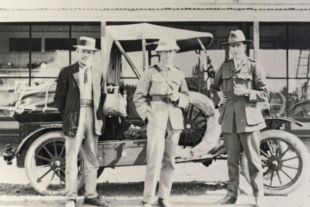 From 1920, Qantas founders George Gorham, Paul McGinness, and Hudson Fysh at the start of their journey across the Australian Outback.