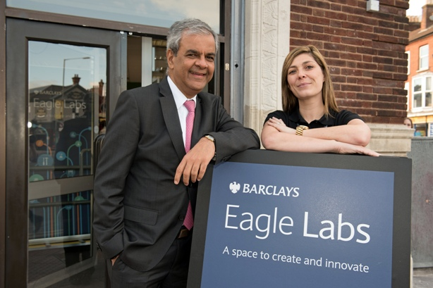 Barclays UK CEO Ashok Vaswani with Nikki Turner, VP, Digital Eagles, at Barclays Bank