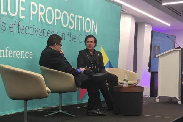 Big Machine CEO Scott Borchetta being interviewed at the PRWeek Conference on Thursday. (Photo credit: Diana Bradley).