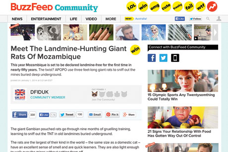 BuzzFeed community: used by the DfID to reach a younger audience