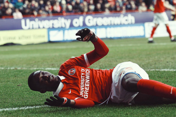 Low point: Charlton's Yaya Sanogo hits the deck during a game (credit: joshjdss via Flickr)