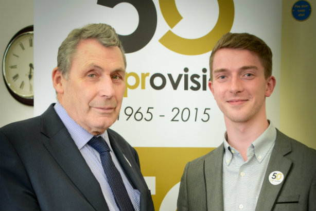 John Brown (left), chair of iprovision, and Virgin Money Giving's Sean Taylor